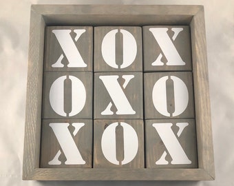 Jumbo tic tac toe, choice of aged gray or walnut stain with vinyl letters, jumbo yard game, wood tic tac toe, old school games