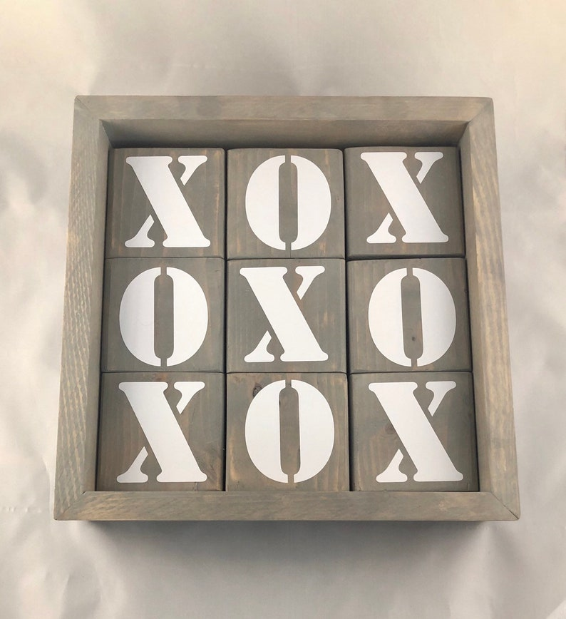 Jumbo tic tac toe choice of aged gray or walnut stain with image 0