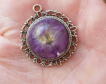 Real purple wildflower pendant