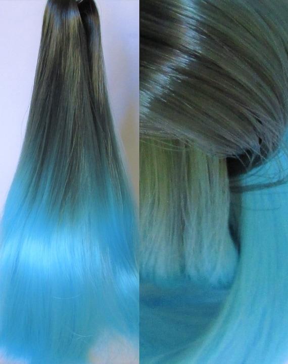 Grau Blau Ombre Nylon Haare Für Benutzerdefinierte Ooakrerooting