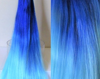 ZONA PELAGICA Blue Ombre Nylon Doll Hair for Custom OOAK/Rerooting