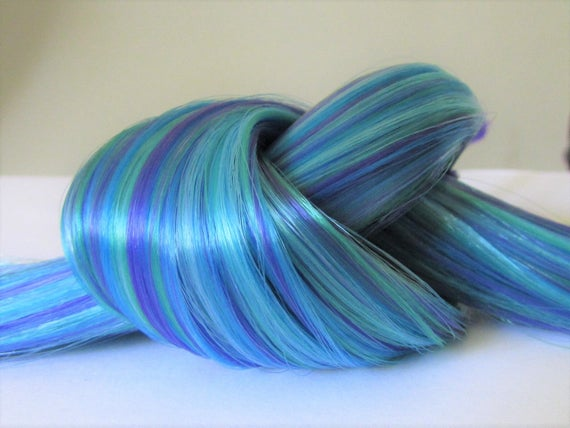 Large 1 oz Custom Smokey Blue Blend Nylon Doll Hair Hank for Rerooting Dolls MLP