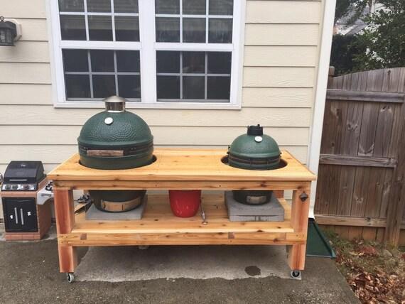 CUSTOM Table For 2 Big Green Eggs Kamado Style Smoker Grill | Etsy