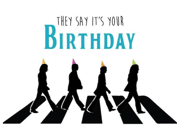 birthday the beatles Beatles Birthday Card   Etsy birthday the beatles