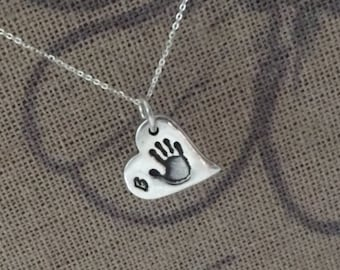 Dainty Hand or Foot Print Necklace
