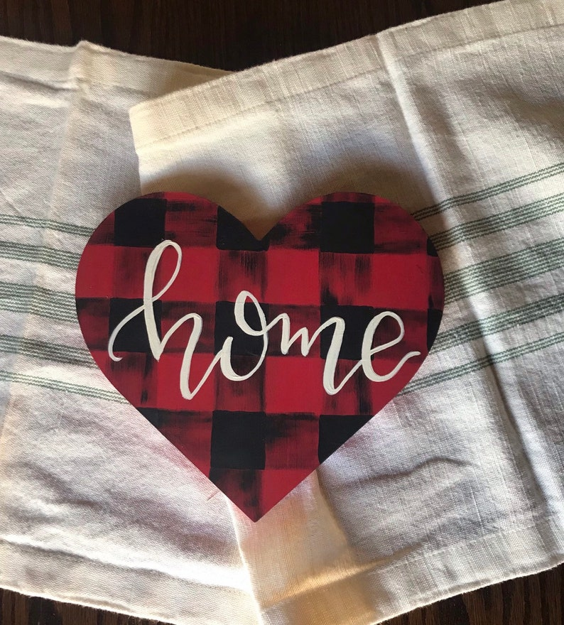 Buffalo Plaid Heart Home Decor Wood