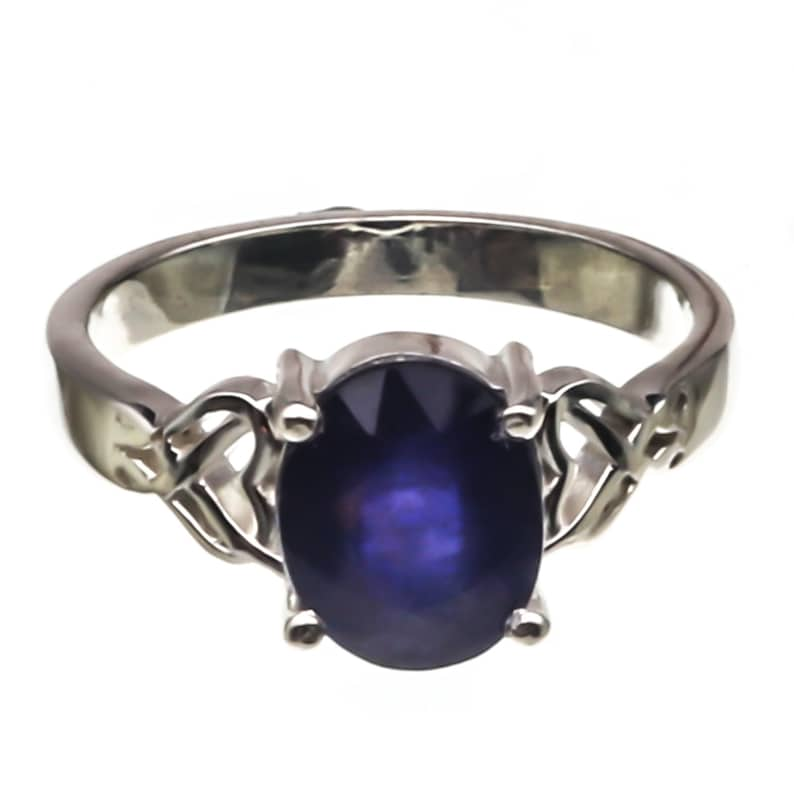 Natural Certified Blue sapphire Gemstone Ring925 Sterling Silver Handmade RingVintage Ring