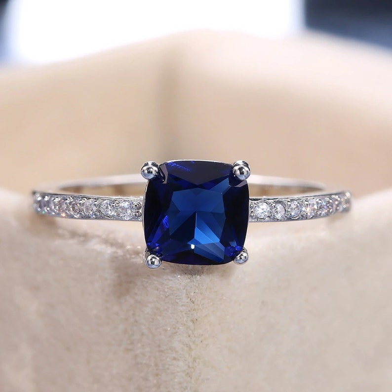 valentine gifts for wife Certified Blue sapphire Gemstone Ring925 Sterling Silver Gold PlatedVintage Ring Blue Sapphire Ring