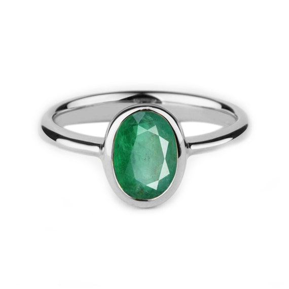 Sterling Silver Emerald Cut Emerald Ring  Emerald Cut Birthstone Stacking Ring  May Birthstone Ring  Simple Silver Ring