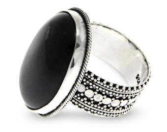 Natural Onyx Black Ring Oval Cut Gemstone, 925 Sterling Silver Handmade Ring, Vintage Inspired Ring Unique Gift