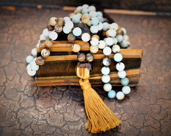 Amazonite, Tiger's Eye, Picture Jasper Natural Gemstone 108 Bead 8mm Mala / Prayer Beads / Necklace