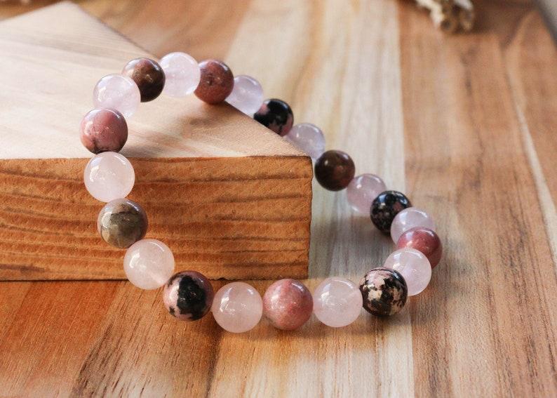 Forgiveness: Rose Quartz and Rhodonite 8mm Natural Gemstone image 0