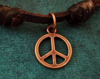 4afec71b1 Peace Sign Necklace VERY SMALL Peace Sign Charm Necklace Hippie Gift  Leather Necklace Brown Cord Necklace Men's Jewelry Boyfriend Necklace