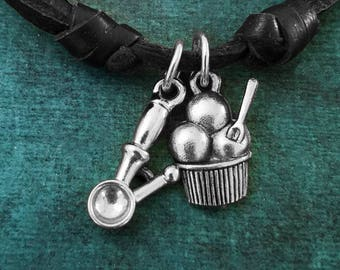 Ice Cream Necklace SMALL Ice Cream Charm Necklace Ice Cream Scoop Leather Necklace Black Cord Necklace Men's Jewelry Boyfriend Necklace Gift