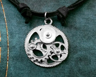 Cogs and Gears Necklace Mechanical Necklace Steampunk Jewelry Machinery Leather Necklace Black Cord Necklace Mens Jewelry Boyfriend Necklace