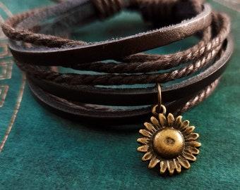 Sunflower Bracelet Bronze Sunflower Charm Bracelet Sunflower Jewelry Sunflower Pendant Bracelet Brown Leather Bracelet Layered Bracelet Gift