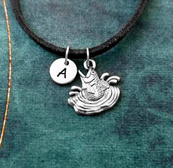 Fish Necklace Fish Jewelry Fishing Necklace Fisherman Charm Necklace Suede Necklace Black Cord Necklace Men/'s Jewelry Boyfriend Necklace