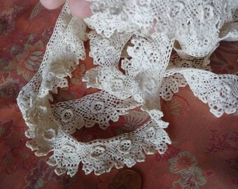 "1Y Vintage Victorian Hand Crochet Lace Trim~8/"" Wide~White~Cotton~Beautiful Rose~"