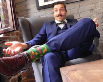 FOXY SUMMER colorful hipster gift socks I green wedding groom groomsmen perfect gift idea socks  funny cute novelty mens socks