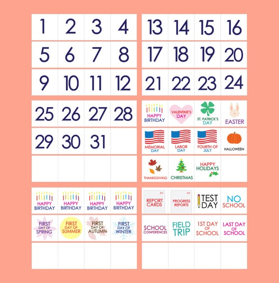 photo about Printable Classroom Calendar referred to as Clroom Calendar - PRINTABLE - Weeks Times Vacations Quantities Faculty Times - Rainbow Bunting - Clroom Instructor Pupil Components