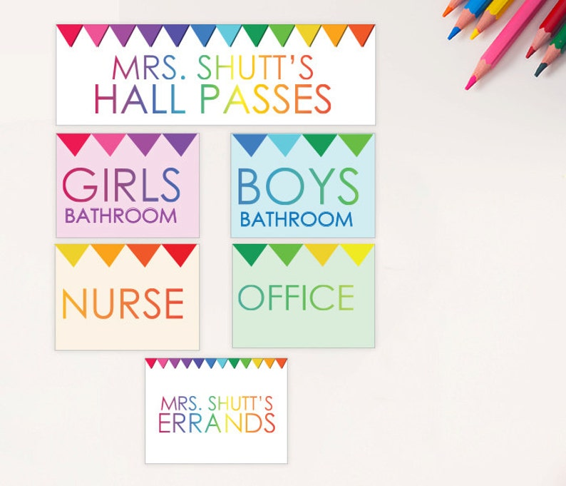 picture relating to Hall Passes Printable identified as University student Corridor Pes - PRINTABLE Personalized - Ladies Boys Nurse Workplace Errands - Rainbow Bunting - Clroom Trainer Materials