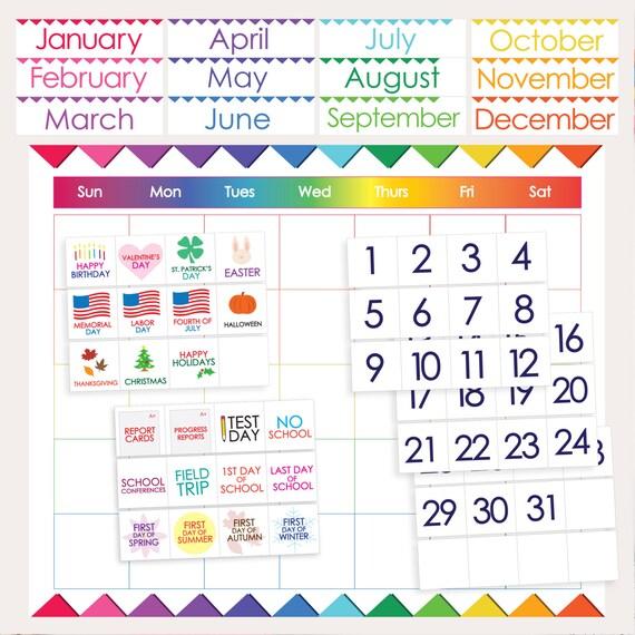 classroom calendar printable months days holidays numbers