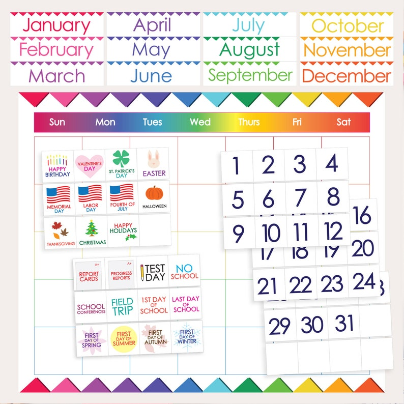 image regarding Printable Classroom Calendar called Clroom Calendar - PRINTABLE - Weeks Times Vacations Figures Faculty Times - Rainbow Bunting - Clroom Trainer College student Elements