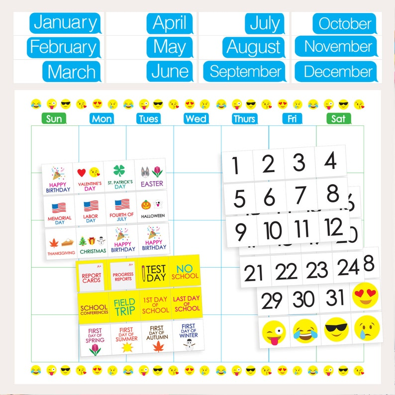 graphic regarding Printable Classroom Calendar named Emoji Clroom Calendar - PRINTABLE - Weeks Times Holiday seasons Quantities Faculty Times - Clroom Trainer University student Products