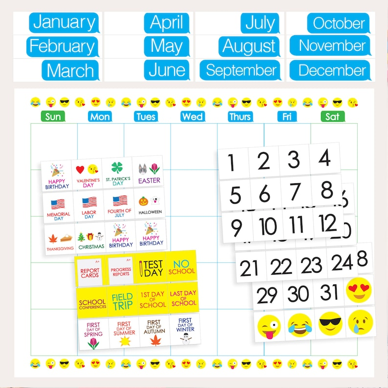 picture about Printable Classroom Calendar titled Emoji Clroom Calendar - PRINTABLE - Weeks Times Holiday seasons Quantities Higher education Times - Clroom Trainer Pupil Materials