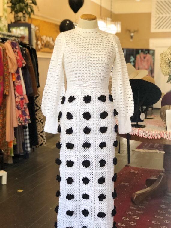 Incredible 1970s Handmade Crocheted Maxi Dress Siz