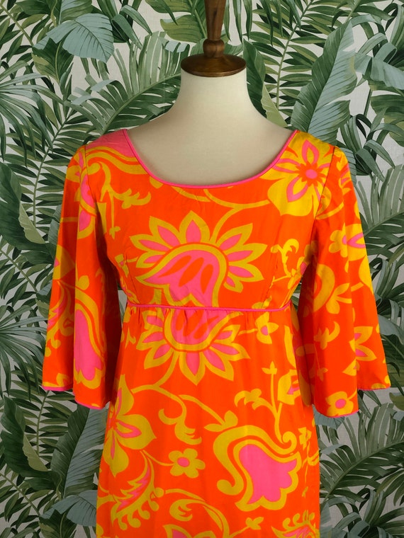 1970s Handmade Bright Cotton Floral Maxi XS