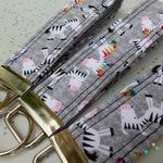 KEY FOB • key chain wrist strap • wristlet • lanyard • fabric strap • rainbow zebra PRIDE