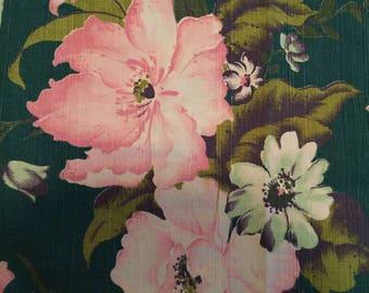 Vintage Barkcloth Piece of Tropical  Fabric