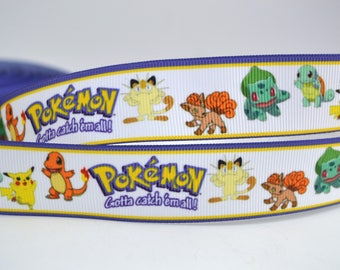 """Pokemon Characters Game Play Inspired Grosgrain Ribbons 1"""" PC010518"""