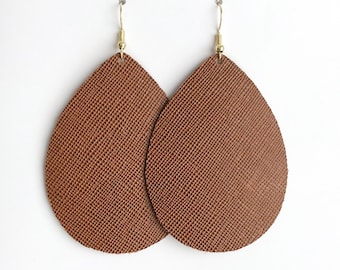 textured cognac leather earrings