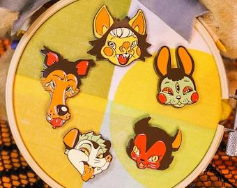 Autumnal Retro Critter Enamel Pin Set