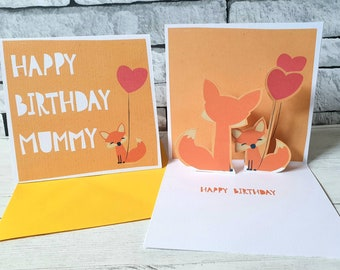 Cute Fox Birthday Card Happy Mummy Popup Mom Cards Personalised Mum From Son
