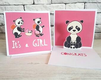New Baby Girl Card, Baby Girl Card, Pop Up Card, Cute New Baby  Card, Pink Card, Panda Card, Baby Shower Card