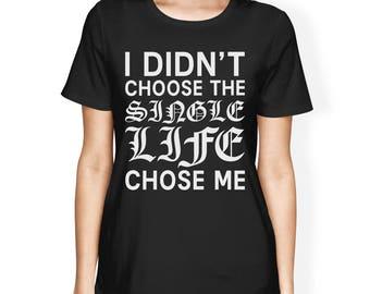 Hug Life Women's Black T-shirt Short Sleeve Simple Graphic Shirt [JCT239]