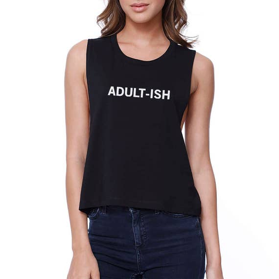 88e45e588b9717 HUMOR Adult-ish Women Black Sleeveless Crop Top Typography