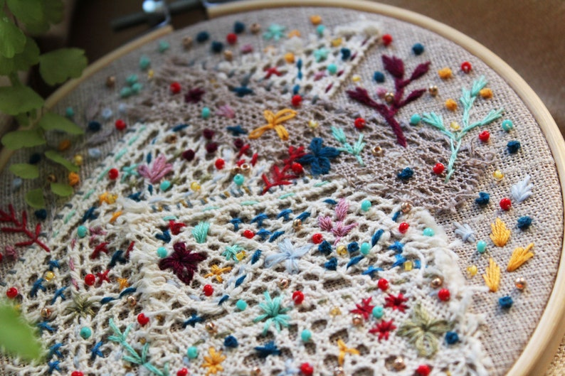 Gift Hand Embroidery Hoop Art Embroidered picture Wall Art Embroidered Abstraction Embroidery beads Hoop Art Embroidery