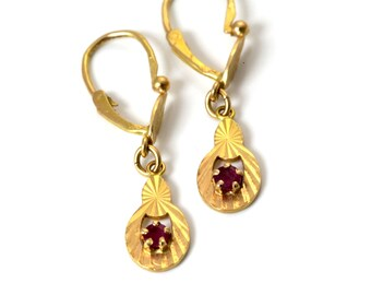 2a70607a6 Antique gold ruby earrings, ruby drop earrings, 40th anniversary, 18ct gold  ruby earrings, antique french gold ruby earrings, ruby drops