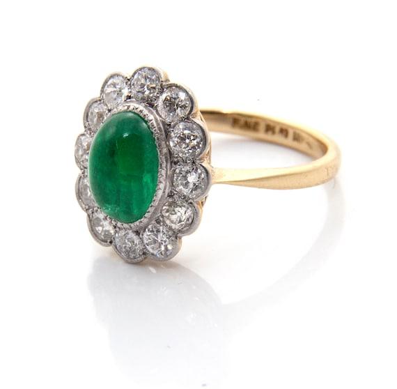 Emerald Diamond Engagement Ring, Emerald Cabochon… - image 3