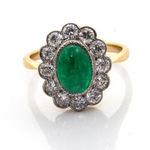 Emerald Diamond Engagement Ring, Emerald Cabochon… - image 1