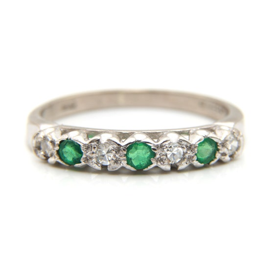 Emerald diamond ring, emerald eternity ring, emera