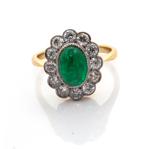 Emerald Diamond Engagement Ring, Emerald Cabochon