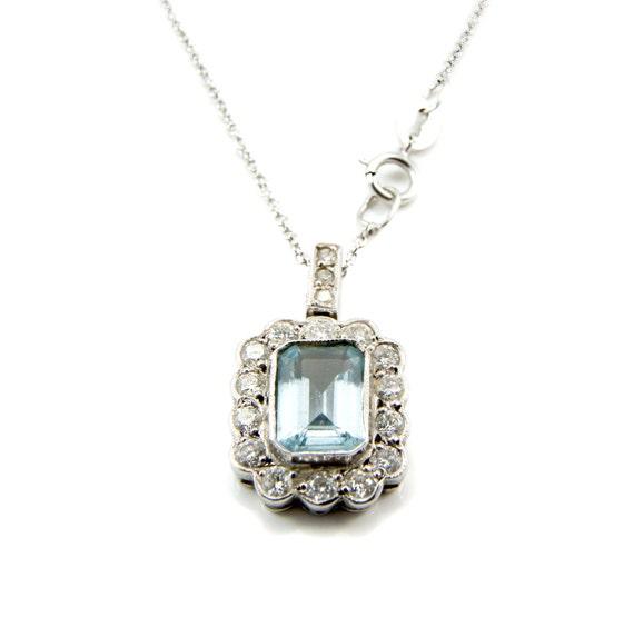 Aquamarine Diamond Pendant, Aquamarine pendant, Aq
