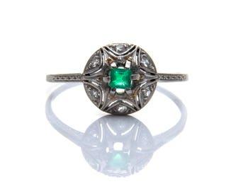 Platinum emerald & diamond ring, antique emerald ring, emerald star cluster ring, unique emerald ring