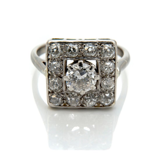 Art Deco Diamond Ring, Square Diamond Cluster Ring
