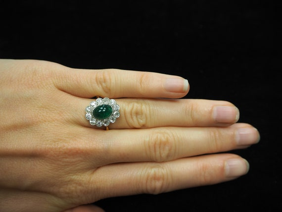 Emerald Diamond Engagement Ring, Emerald Cabochon… - image 7